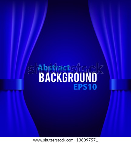 Curtains Ideas curtains background : Blue Curtains Background With Sample Text Vector Illustration ...