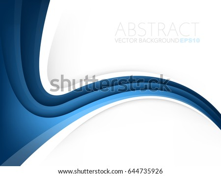 Blue curve line background gradient color overlap layer with white space for text design, vector
