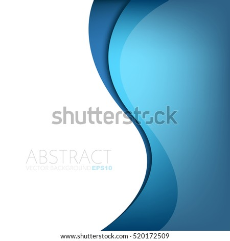 Blue curve line background. overlap paper blue layer on white and blue space for text and message design