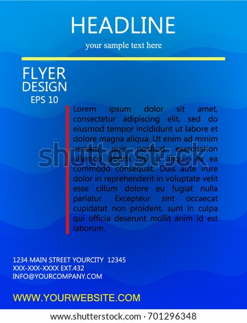 blue curve line flyer vector design
