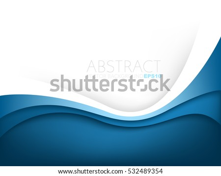 Blue curve line layer background with white space for add text , vector