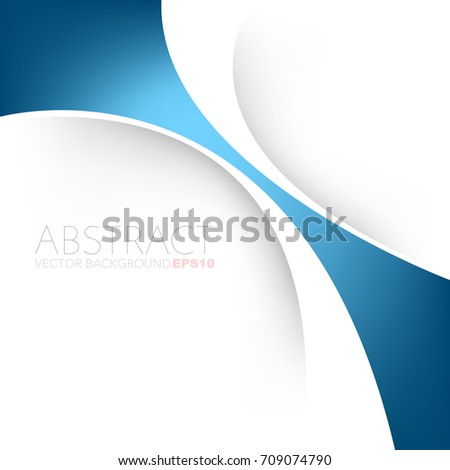 Blue curve line vector background gradient colour overlap paper layer on white space for presentation design