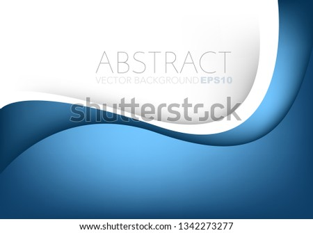 Blue curve line vector background overlap with white space for design