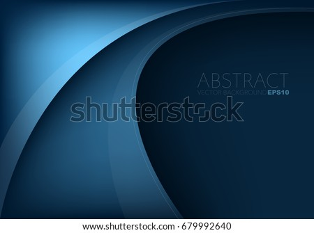 Blue curve vector background overlap layer on blue dark space for text design