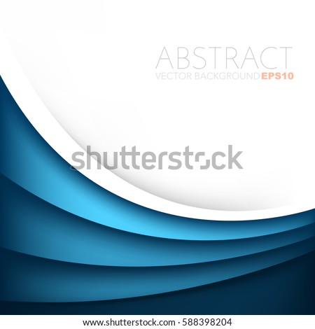 Blue curve vector background overlap white layer and space for text and message artwork design
