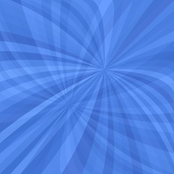 Blue curved ray burst background - vector illustration from swirling rays
