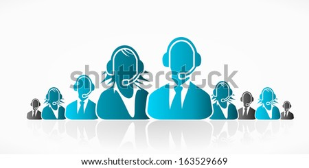 Blue customer service people group abstract silhouettes