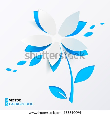 Blue cutout paper flower vector greeting card
