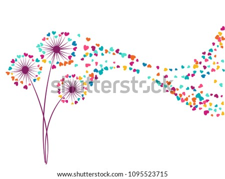 Blue cyan pink orange vector dandelion herbs, meadow flowers illustration. Floral romantic background with dandelion blowing plant. Flowers with heart shaped feather flying. Meadow blossom.
