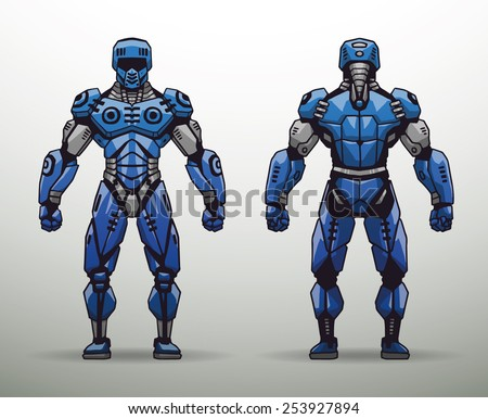 blue cyborg soldier  vector