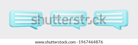 Blue 3d bubble talks set isolated on gray background. Glossy blue speech bubbles, dialogue, messenger shapes. 3D render vector icons for social media or website