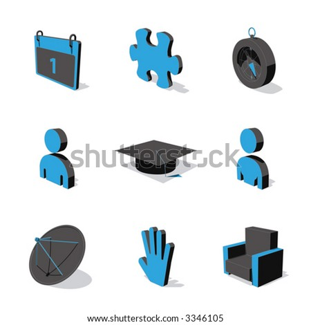 blue 3d icon set 05