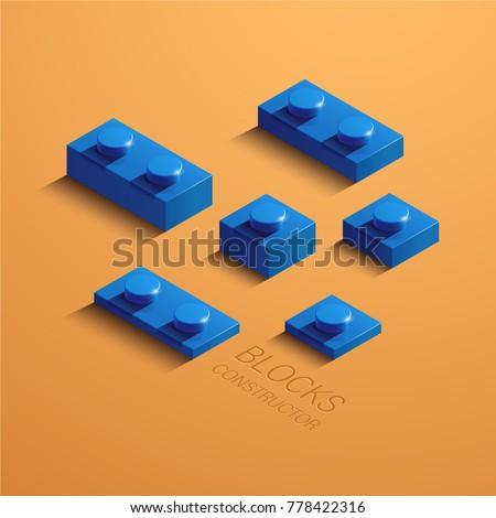 blue 3d lego element. 3d building constructor blocks