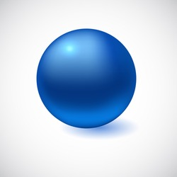 Blue 3D sphere isolated on white. Vector illustration for your design