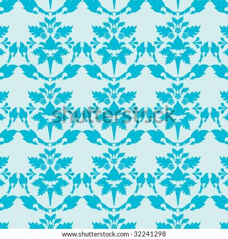 Damask Wallpaper on Blue Damask Wallpaper Flowers Pattern Stock Vector 32241298