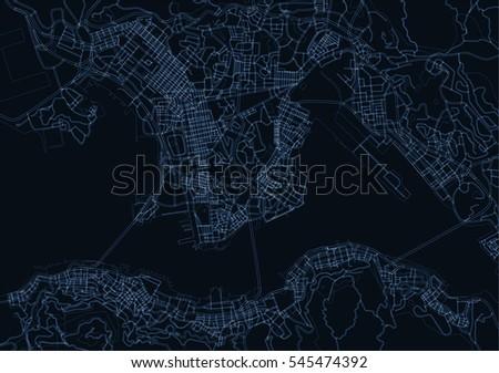 blue  dark blue vector map of
