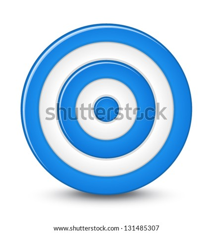 Blue darts target aim on white background