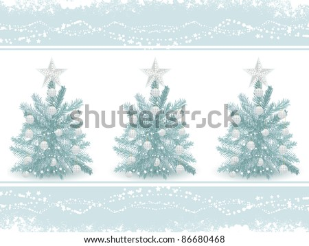 blue decorated Christmas trees on a blue border with grunge