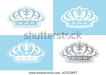Blue decoration tiara. Illustration vector.