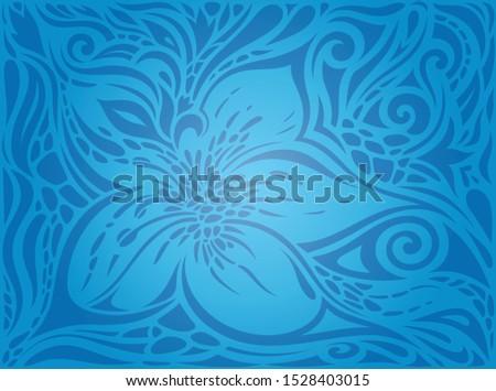Blue Decorative Flowers,Vintage Wallpaper Background ornate fashion ornate design