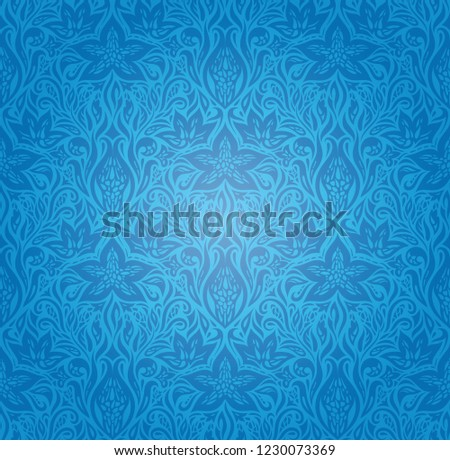 Blue Decorative Flowers,Vintage Wallpaper Background ornate fashion ornate mandala design