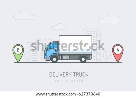 Blue delivery truck vehicle traveling route with red and green location marker in the city . Vector illustration in line art drawing style