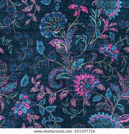 Blue denim with colorful floral print. Vector seamless wallpaper.