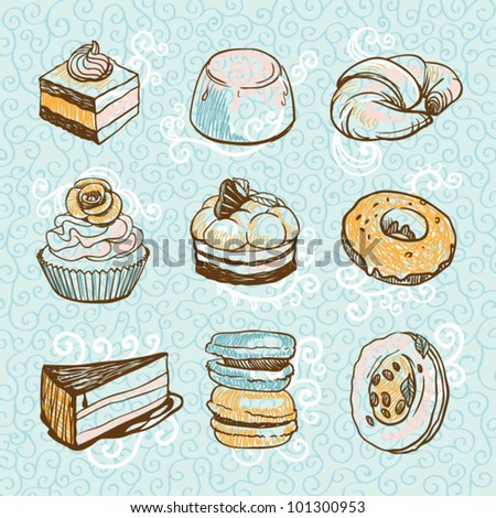 Blue desserts set on curly background