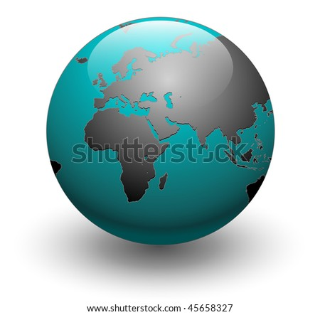Blue detailed earth globe, vector illustration