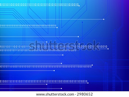 Blue digital background. Numbers and circuit board