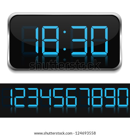Blue digital clock, vector eps10 illustration
