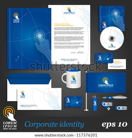 Blue digital corporate identity template with hand Vector company style for brandbook and guideline EPS 10