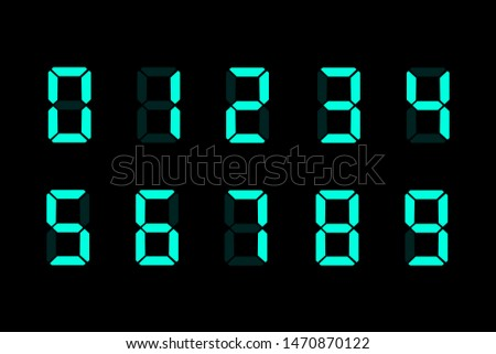 Blue digital watch isolated on black background. Electronic digits. Vector illustration. EPS 10.