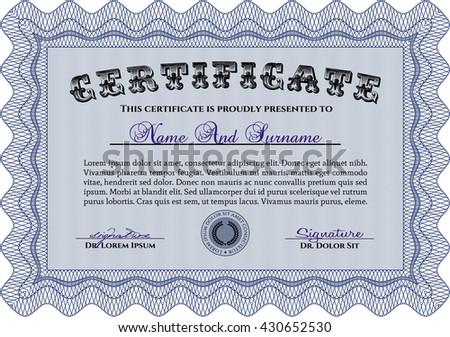 Blue Diploma. Border, frame. Good design. With background.