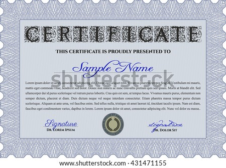 Blue Diploma or certificate template. Complex background. Vector pattern that is used in currency and diplomas.Superior design.
