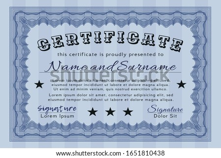 Blue Diploma or certificate template. Money style design. With guilloche pattern and background. Customizable, Easy to edit and change colors.
