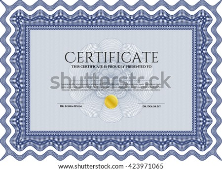 Blue Diploma or certificate template. Superior design. Complex background. Vector pattern that is used in currency and diplomas.