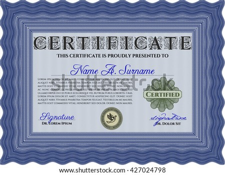 Blue Diploma or certificate template. Superior design. Vector pattern that is used in currency and diplomas.Complex background.