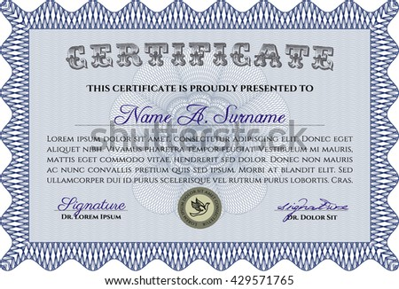 Blue Diploma or certificate template. Vector illustration. Lovely design. With complex background.