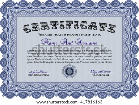 Blue Diploma or certificate template. With complex background. Lovely design. Vector illustration.