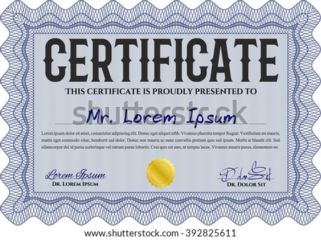 Blue Diploma or certificate template. With complex background. Vector illustration. Lovely design.