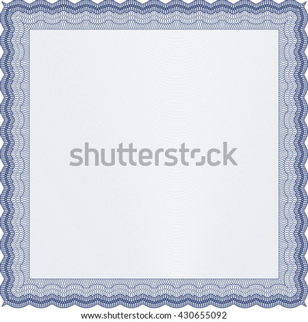 Blue Diploma template or certificate template. With quality background. Vector pattern that is used in money and certificate. Beauty design.