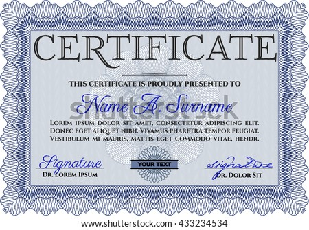 Abstract blue wave certificate of achievement template design blue diploma template or certificate template with quality background vector pattern that is used yadclub Choice Image