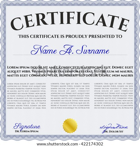 Blue Diploma. With background. Border, frame. Good design.