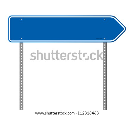 Blue Directional Road Sign - Blank destination sign with destination information