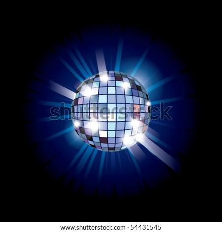Blue disco ball. Vector illustration.