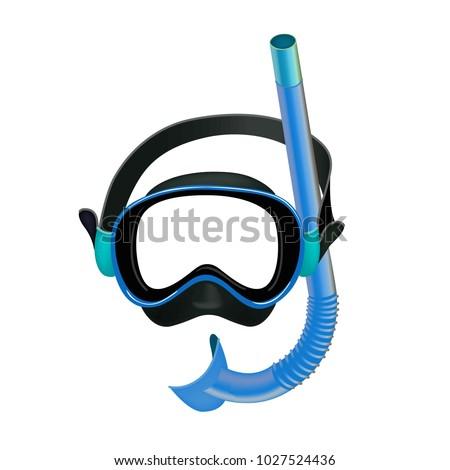 blue diving mask  diving tube