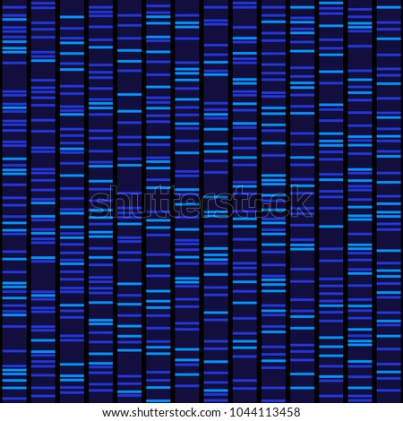 Blue Dna Sequence Results on Black Seamless Background. Vector