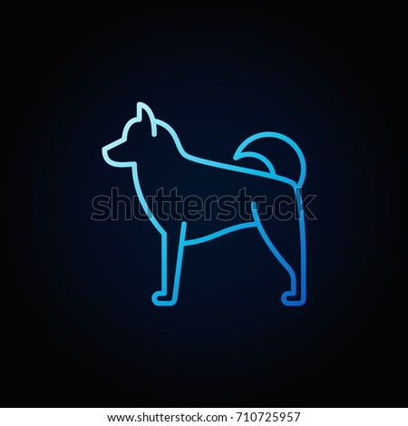 blue dog linear concept icon or