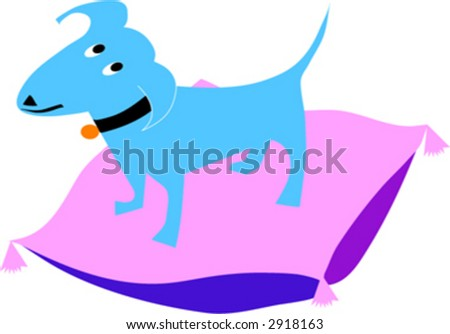 blue dog on pillow